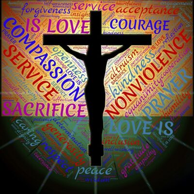 compassion, love, courage, sacrifice, empathy plus action, put into practice, doing, God, love, Jesus, church, Christians